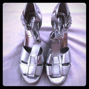 BCBGirls Silver Reflective Wedges